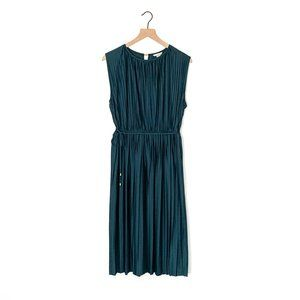 H&M teal accordion pleated sleeveless dress small